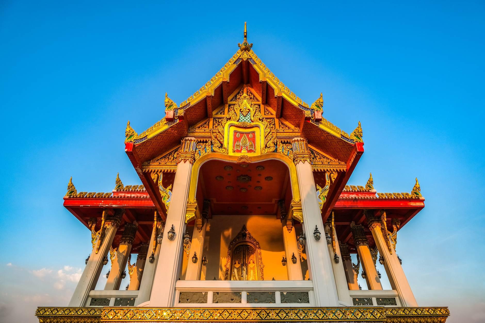 thai temple under blue sky