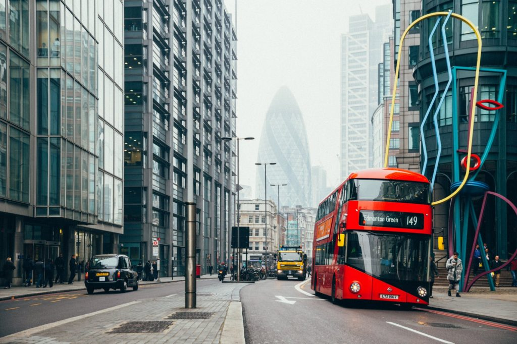 architecture buildings bus cars